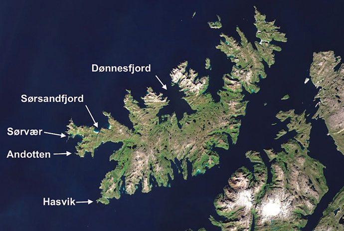 Kart over Sørøya fra Google satellitt.